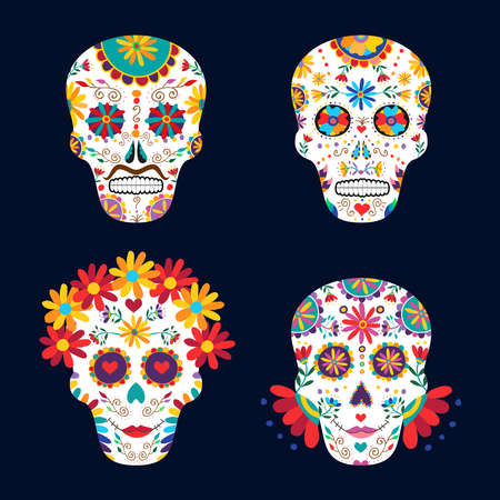 catrina: Skull set for day of the dead celebration, traditional mexican decoration with flowers and colorful art. EPS10 vector.