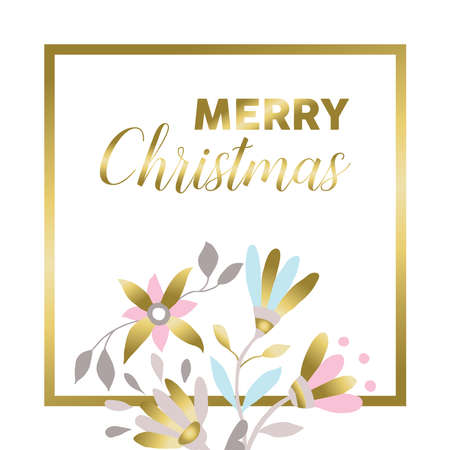 flower decoration: Merry Christmas gold flower decoration in pastel colors over white background. Floral illustration design for xmas season.