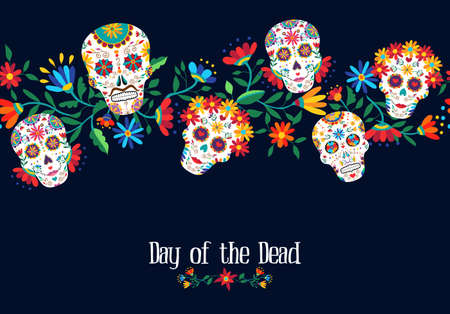 Day of the dead illustration with traditional mexican skulls decoration and floral background. EPS10 vector.