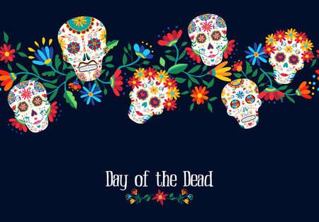 Dzień nieżywa ilustracja z tradycyjną meksykańską czaszki dekoracją i kwiecistym tłem. Eps10 wektor.