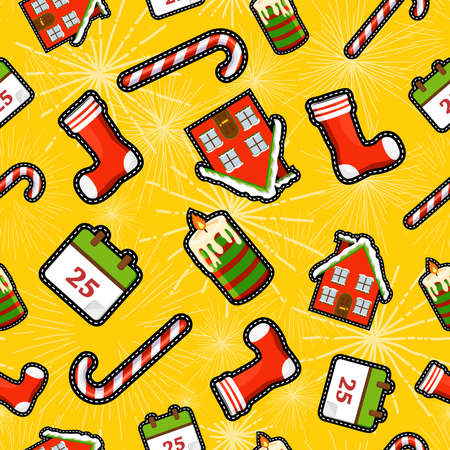 holiday house: Christmas seamless pattern background with holiday decoration patch icons, candy cane, sock, winter house and candle.