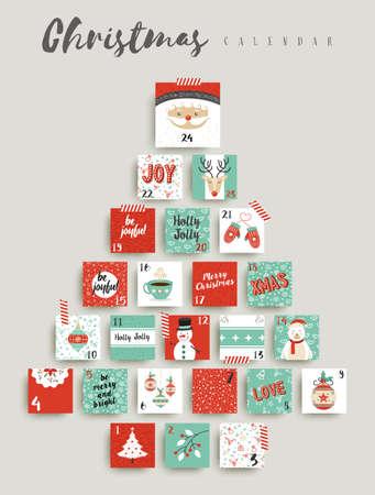 Christmas advent calendar, cute holiday season decoration countdown to xmas day celebration. EPS10 vector. Фото со стока - 64989476