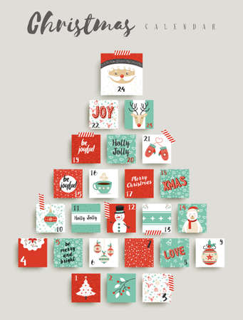 Kerst adventskalender, leuke vakantie seizoen decoratie aftellen naar xmas dag feest. EPS10 vector. Stock Illustratie