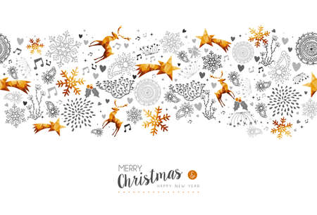 decorative pattern: Merry Christmas and Happy New Year gold low poly pattern decoration with deer, nature and holiday ornaments. EPS10 vector.