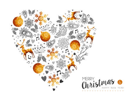 Merry Christmas and Happy New Year gold heart shape decoration with deer, nature and holiday ornaments. Illustration
