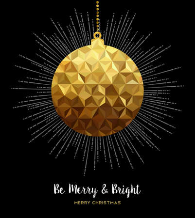Gold Merry Christmas design, elegant xmas bauble ornament decoration in low poly style.