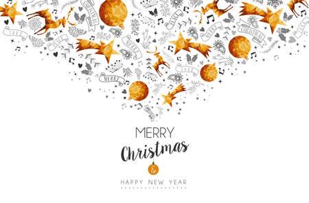 navidad elegante: Feliz Navidad y Feliz Año Nuevo de oro bajo la decoración poli con los ciervos, de la naturaleza y del día de fiesta. Vectores