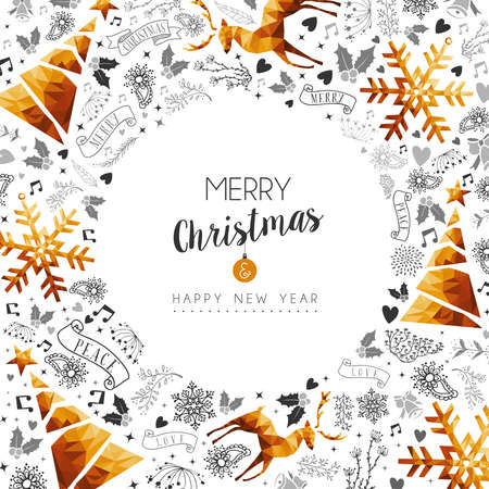 Merry Christmas and Happy New Year gold frame decoration with deer, nature and holiday ornaments. Illustration