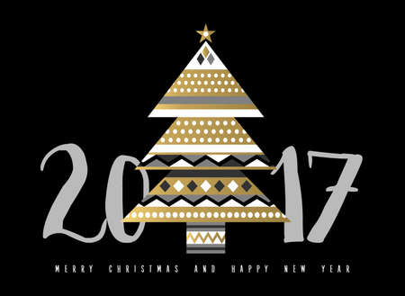 Happy New Year 2017 greeting card design with gold christmas pine tree made of abstract elegant geometric shapes.