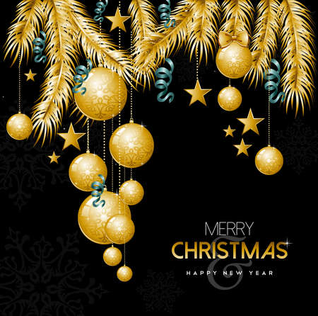 new year greeting: Merry Christmas Happy New Year, greeting card design with gold holiday ornament baubles and decoration.