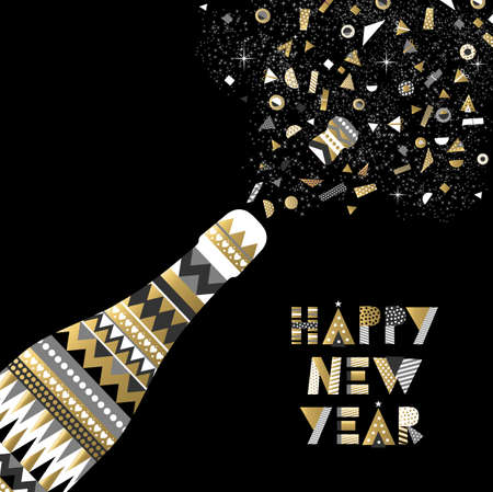 toast: Gold Happy New Year card design party bottle making toast and elegant abstract decoration.