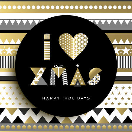 Merry christmas greeting card design, i love xmas text quote in gold colors and abstract background made of geometric shapes. Ilustração Vetorial