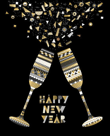 Gold Happy New Year card design with drink glass making toast and abstract elegant decoration.