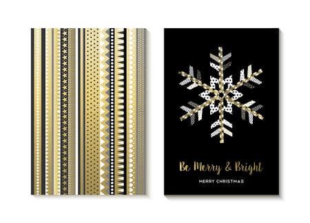 navidad elegante: diseños de la Feliz Navidad, de oro elegante ilustración copo de nieve y fondo abstracto hecho de formas geométricas.
