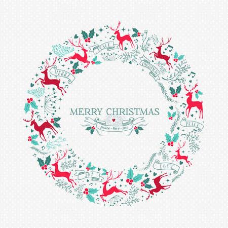 Merry Christmas krans illustratie met vintage rendier decoratie en vakantie ornament pictogrammen in feestelijke kleuren.