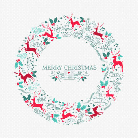 Merry Christmas wreath illustration with vintage reindeer decoration and holiday ornament icons in festive colors.