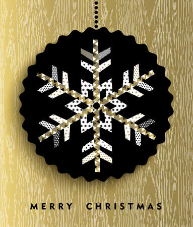 xmas card: Merry Christmas greeting card design, gold snowflake illustration made of geometric abstract shapes.
