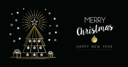 pine decoration: Merry christmas and new Year gold social media header in modern outline art style, pine tree illustration with holiday decoration.