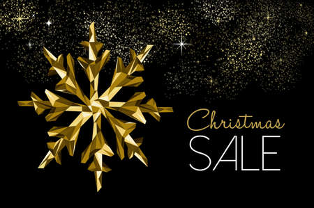 Christmas sale gold winter holiday decoration for seasonal discount, low poly snowflakes on fireworks sky. Illustration