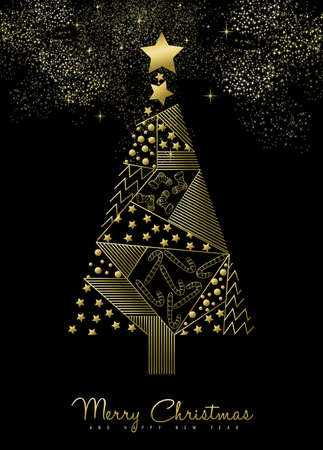 pine decoration: Merry Christmas and New Year gold geometric pine tree with holiday ornament decoration.