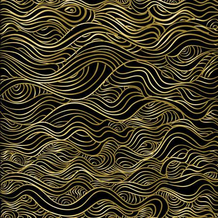 抽象のゴールドのシームレスなパターン、クリスマス シーズンの波ライン高級テクスチャ背景。