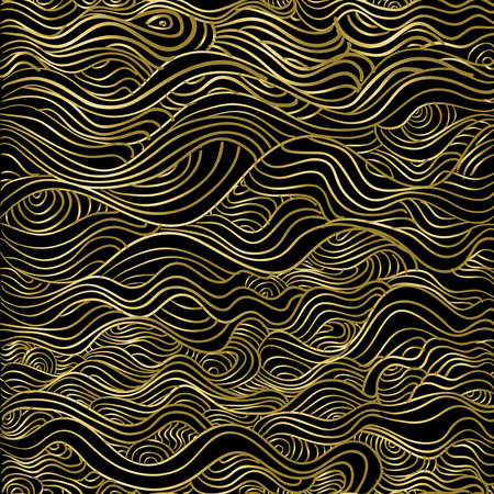 Abstract seamless pattern d'or, ligne vague texture de fond de luxe pour la saison de Noël. Banque d'images - 65358237
