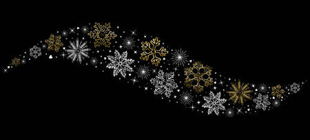 new year greeting: Merry Christmas gold concept design with snowflake decoration for winter holiday season Illustration