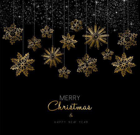 new year decoration: Merry Christmas Happy New Year greeting card design with gold snowflake decoration for holiday season.