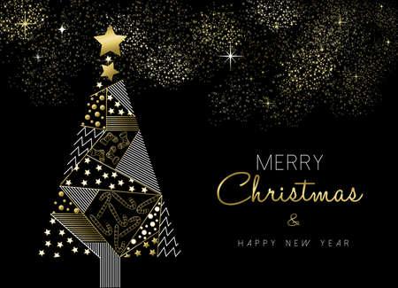 Feliz Navidad y Año Nuevo diseño de la tarjeta de felicitación del árbol de pino de oro con la decoración adorno de vacaciones.