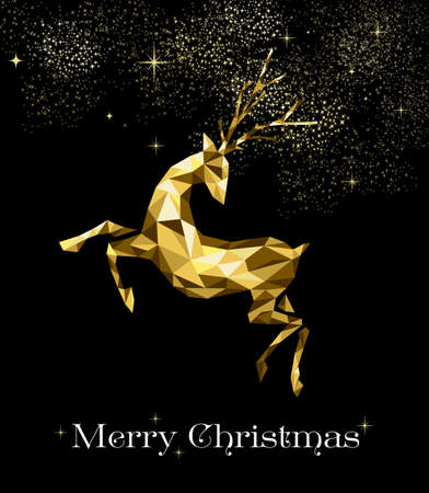 Merry Christmas gold holiday decoration, abstract low poly reindeer illustration on firework sky.