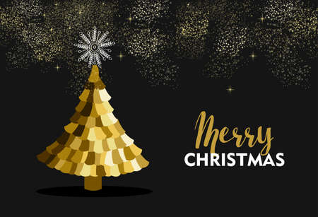 pine decoration: Merry Christmas gold pine tree greeting card design with fireworks sky decoration. Illustration