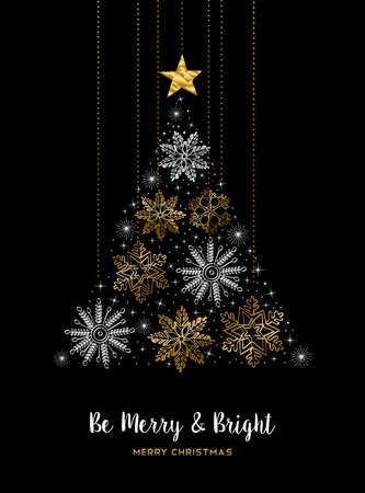 holiday season: Gold Christmas greeting card design with snowflakes as pine tree decoration for holiday season