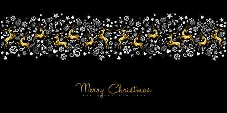 メリー クリスマスと新年のヴィンテージのシームレス パターン カード装飾金低ポリ鹿と休日の装飾品。