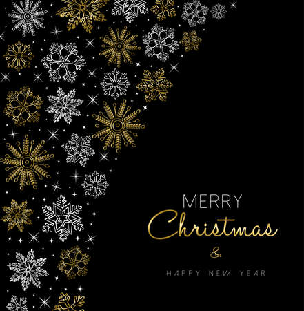 holiday season: Merry Christmas Happy New Year greeting card design with gold snowflake background for holiday season. Illustration