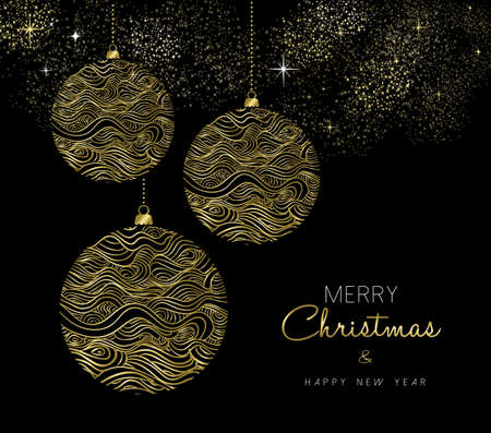Merry Christmas and New Year gold ornament bauble, luxury texture decoration in abstract style.