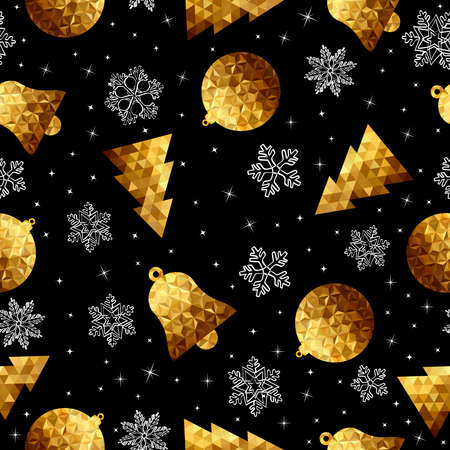 christmas seamless pattern: Gold Christmas seamless pattern, low poly ornaments and hand drawn snow decoration for holiday season background.