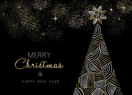 Vrolijk Kerstmis en Nieuwjaar goud dennenboom wenskaart ontwerp in elegante abstracte lijn geometrische textuur.