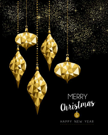 Merry Christmas and New Year gold holiday decoration, low poly ornament bauble on fireworks sky.