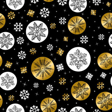 christmas wrapping: Gold Christmas seamless pattern with hand drawn snow decoration for holiday season background.