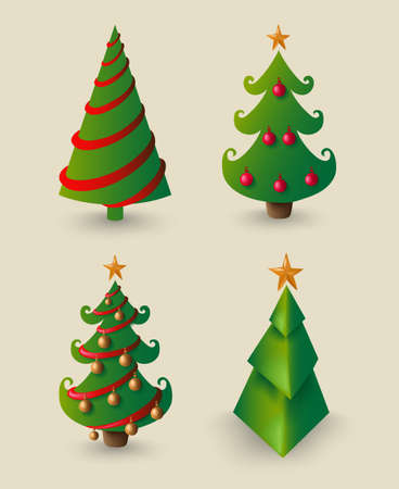 pine decoration: Christmas cartoon set for decoration, pine tree elements with ornaments and baubles. Illustration