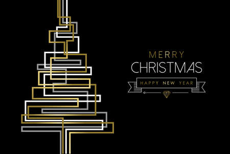 abstract tree: Merry Christmas gold pine tree greeting card design in abstract geometric line style.