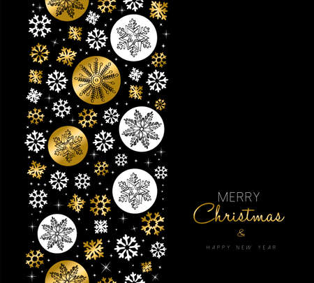 new year greeting: Merry Christmas Happy New Year greeting card design with gold snowflake seamless pattern background.