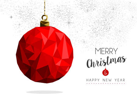 Merry christmas and happy new year red xmas bauble ornament in low poly style, holiday decoration card design. Ilustrace