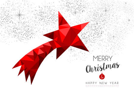 decoration style: Merry christmas and happy new year red xmas star ornament in low poly style, holiday decoration card design. Illustration