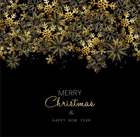 cartolina d'auguri di Buon Natale Felice Anno Nuovo con decorazione fiocco di neve oro per la stagione di vacanza.