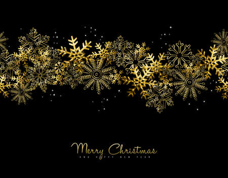 Merry Christmas Happy New Year greeting card design with gold snowflake decoration for holiday season.