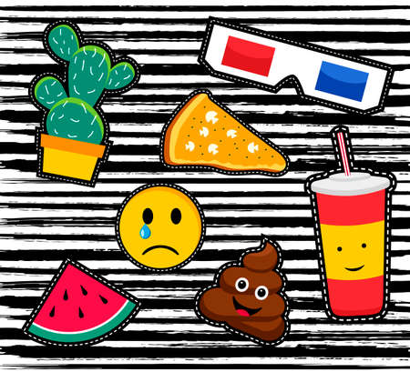 popart: Cute set of cartoon patch designs, colorful illustrations for sticker decoration or embroidery.