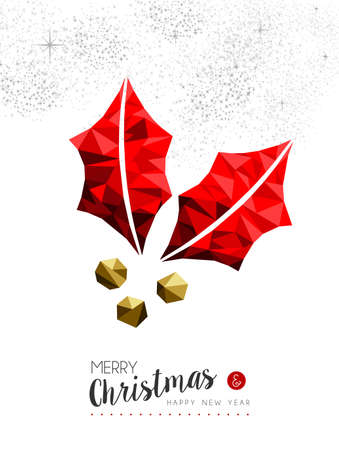 decoration style: Merry christmas and happy new year red xmas mistletoe in low poly style, holiday decoration card design. Illustration