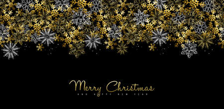new year greeting: Merry Christmas Happy New Year greeting card design or social media cover with gold snowflake decoration for holiday season.