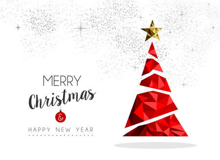Merry christmas and happy new year red xmas pine tree in low poly style, holiday decoration card design.